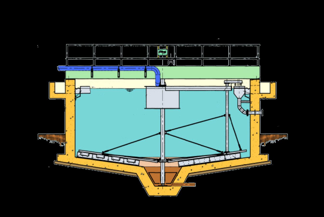 Chiarificatore circolare a ponte intero-mobile